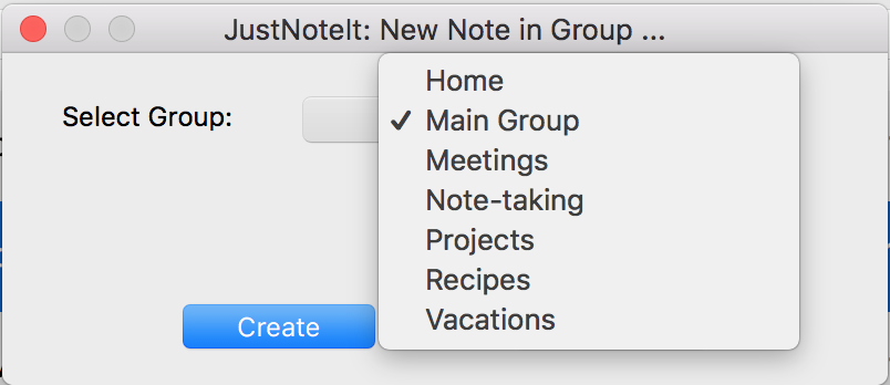 Choose note group