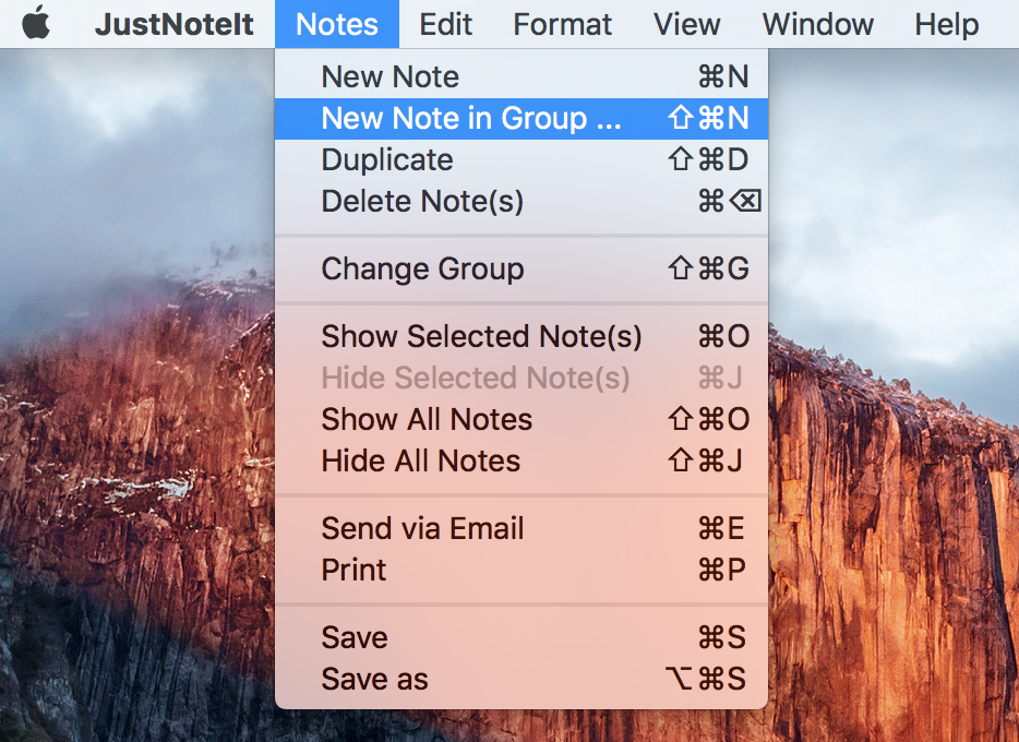 Create a note in the certain group through top menu