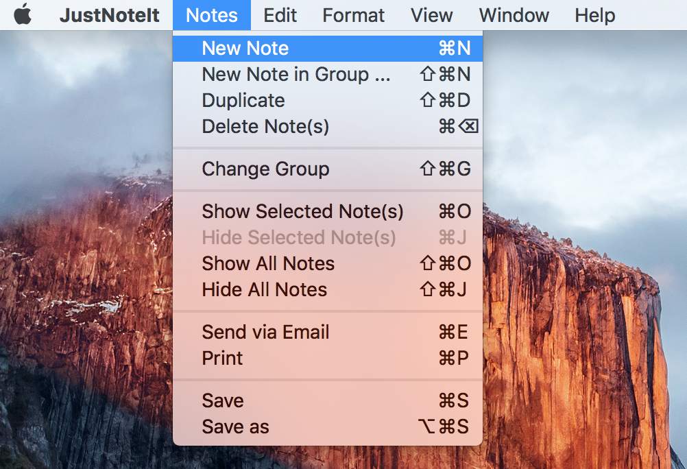 Create a note in the Default group through top menu